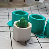 Qjoy Silicone Cactus Flower Pot Mold Ceramic Clay Craft Casting Concrete Cup Mould Supplies