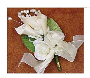 Off White Silk Roses and Satin Lilies Premade Flower Corsages or Boutonnieres for Wedding, Party or Special Event - Package of 12