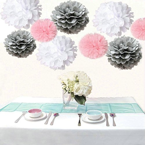 Saitec ® Pack of 18PCS Mixed White Grey Pink Tissue Pom Poms Pompoms Wedding Birthday Party Nursery Decoration (Pink Grey Baby Shower compare prices)