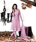 Pink Embroidered Net Suit with Dupatta-LMMV9305-B