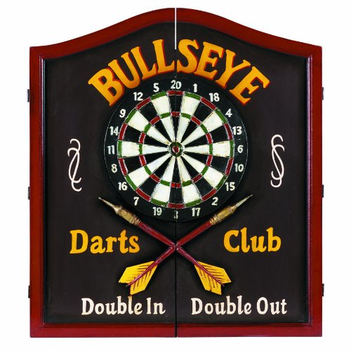 "Ram Gameroom Products Wooden Dartboard Cabinet, ""Bullseye Darts Club - Double In, Double Out"""