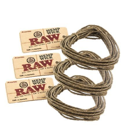 RAW Natural Unbleached Hemp & Beeswax Hemp Wick 13ft / 4 Meters (3 Pack) (Raw Cone Package compare prices)