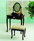 Roundhill Queen Anne Style Wood Makeup Vanity with Mirror and Bench, Cherry Finish