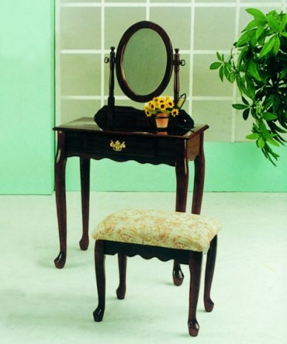 Cherry finish wood vanity makeup table set W/ bench