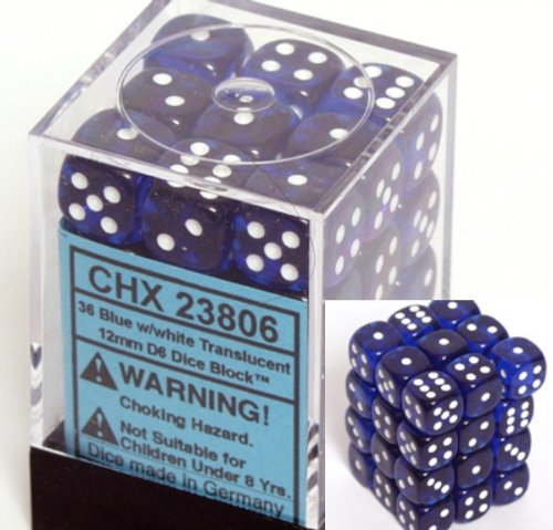 Chessex Dice d6 Sets: Blue with White Translucent - 12mm Six Sided Die (36) Block of Dice