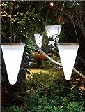 Solalux Set of 3 Solar Outdoor Garden Hanging Tree Cornet Cone LED Lights