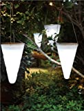 Set of 3 Artis Solar Outdoor Garden Hanging Tree Cornet Cone LED Lights