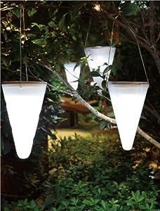 set of 3 solar outdoor garden hanging tree cornet cone led lights