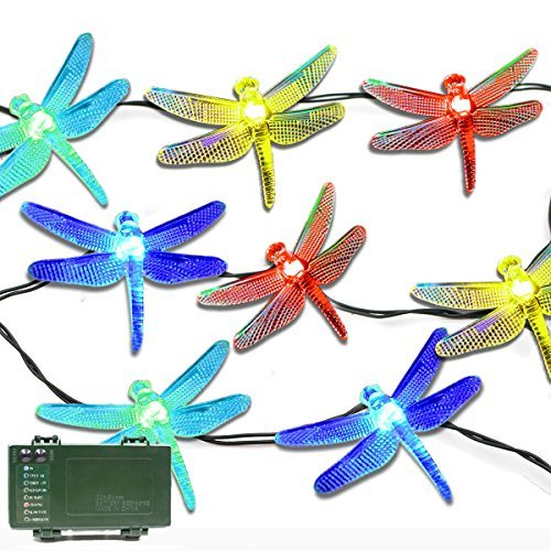 Lalapao Battery Operated Optional Automatic Timer String Lights 20 LED Dragonfly Fairy Christmas Lighting Decor with 5 Modes For Outdoor Indoor Garden Patio Bedroom Wedding Decorations (Multi Color)