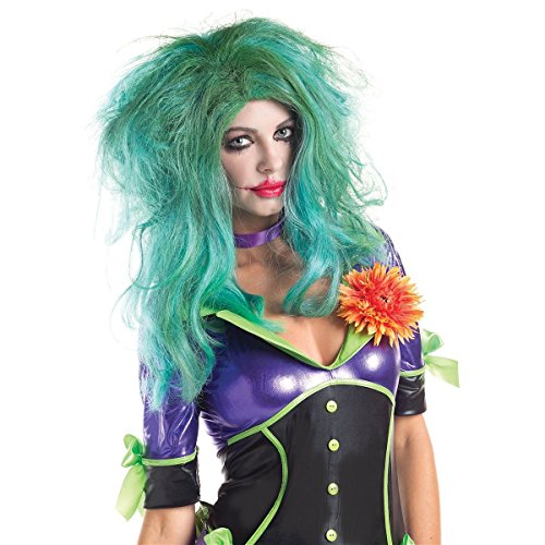 GSG Female Joker Wig Womens Villain Costume Adult Cosplay Halloween Fancy Dress (Female Villain Costume)
