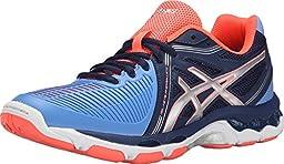 ASICS Women\'s Gel Netburner Ballistic Volleyball Shoe, Columbia Blue/Silver/Navy, 8.5 M US