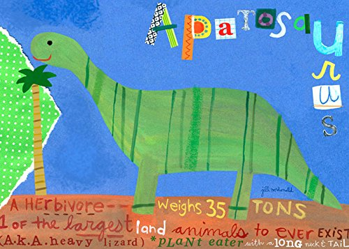 Oopsy Daisy Apatosaurus Stretched Canvas Wall Art by Jill Mcdonald, 14 by 10-Inch