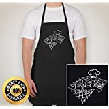 StarkWorks Game of Thrones Apron - Dinner Is Coming - For BBQ, Baking, Cooking - Adjustable - 3 Pockets with Pen Holder Black - Game of Thrones Merchandise Gifts