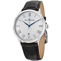 Alexander Statesman Triumph Wrist Watch For Men - Black Leather Stainless Steel Analog Swiss Watch - Silver White Dial Date Mens Designer Watch A103-01
