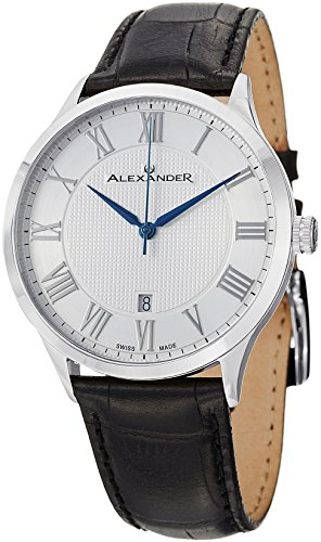 - 51ftzfIkk6L - Alexander Statesman Triumph Men's Silver Dial Black Leather Strap Swiss Made Watch A103-01