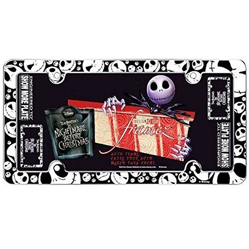 Jack Skellington Faces Heads Expressions Tim Burton Nightmare Before Christmas Disney Auto Car Truck SUV Vehicle Universal-fit License Plate Frame - Plastic - SINGLE (Nightmare License Plate Frame compare prices)