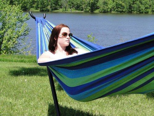 Brazilian Double Hammock with Universal Stand – Red, Orange & Yellow Stripes