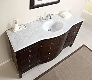 60 single sink carrara white marble top bathroom vanity cabinet