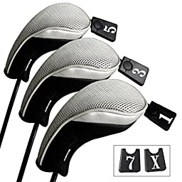 Andux Golf Driver Wood Head Covers Interchangeable No. Tag 3 of Set Mt/mg03 Black & Grey