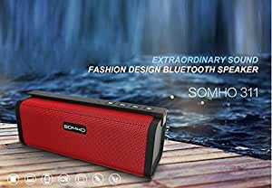 SRB High Quality Dual Channel SOMHO S311 Speaker with Bluetooth, NFC, FM, microsd Slot, aux in Supported Devices Universal Smartphones OnePlus X Nokia N1 Pad, Macbook, Letv Smartphone(1pc), Apple New Macbook 12 inch, OnePlus Two, Google Nexus 5X, Nexus 6P, Pixel C Google Nexus Oppo. (Red)