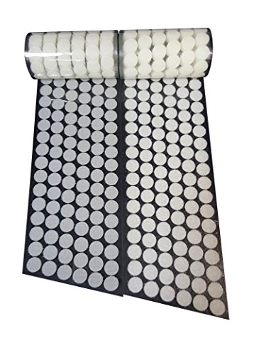 Best Deals! 5/8 Diameter 700 Pcs(350 Pairs) White Round Dot Coin Straps Self Adhestive Hook And Loo...