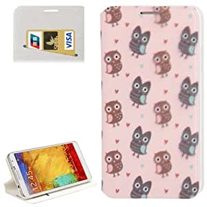 Crazy4Gadget Owl Pattern Leather Case with Credit Card Slot & Holder for Samsung Galaxy Note III / N9000(Pink)