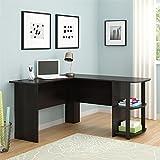 Altra Dakota L-Shaped Desk with Bookshelves, Dark Russet Cherry