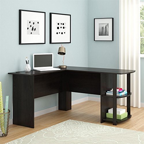 Altra Dakota L-Shaped Desk with Bookshelves, Dark Russet Cherry L-Shape Assembly