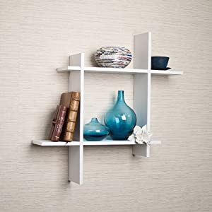 Asymmetric White Laminate Square Floating Wall Shelf
