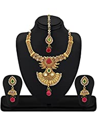 REEVA MULTICOLOUR TRADITIONAL SOUTHINDIAN NECKLACE SET WITH KUNDAN