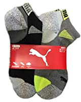 Puma Men's Low Cut All Sport No Show Socks 6-Pair (Shoe Size 6-12, White/Grey)