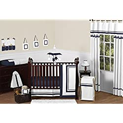 Contemporary White and Navy Modern Hotel Baby Boy Girl Unisex Bedding 11pc Crib Set without bumper