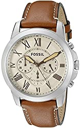 Fossil Grant Analog Beige Dial Mens Watch - FS5118