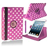 Stuff4 Polka Dot Designed Leather Smart Case with 360 Degree Rotating Swivel Action and Free Screen Protector/Stylus Touch Pen for Apple iPad Air - Light Pink/White