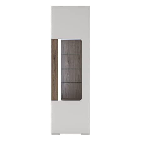 Furniture To Go Toronto Tall Narrow Glazed Display Cabinet with Internal Shelves including Plexi Lighting, White Gloss