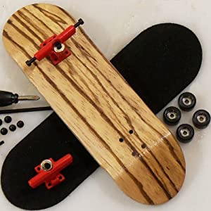 Peoples Republic Zebra Complete Wooden Fingerboard w Allen Trucks - Basic Bearing Wheels