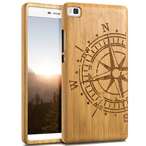 Semoss Hand-made Compass Design Natural Wood Bamboo Case Cover for Huawei P8 Lite Eco-Friendly Protective Bumper Hard Back Shell Case Skin Cover