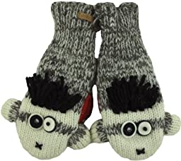 DeLux Punk Sock Monkey Grey Wool Animal Mittens