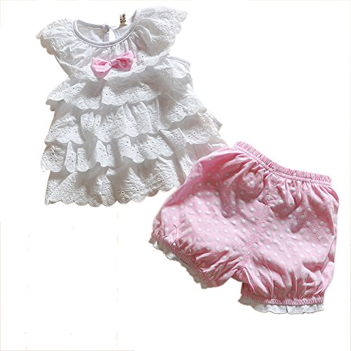 Urparcel Baby Girls Lace Shirts Polka Dot Tops T-Shirt Shorts Pants Outfits Sets front-12529