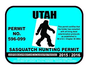 Utah sasquatch hunting permit license bigfoot for Utah non resident fishing license