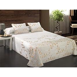 Colcha pique Darika - cama 105 cm - Beige