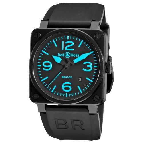 Bell & Ross Men's BR-03-92-BLUE Aviation Black and Blue Dial Watch Watch