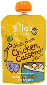Ella's Kitchen Stage 2 from 7 Months Organic Chick Chick Chicken Casserole with Rice 130 g (Pack of 6)