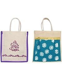 Cristal Bags Jute Shopping Bags (Pack Of 2, Jute-531)