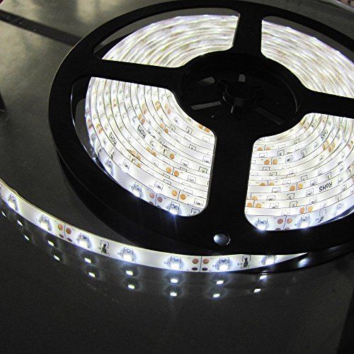 LED Strip light, Waterproof LED Flexible Light Strip 12V with 300 SMD LED, 3258 Pure White. 16.4 Foot / 5 Meter (Pure White)