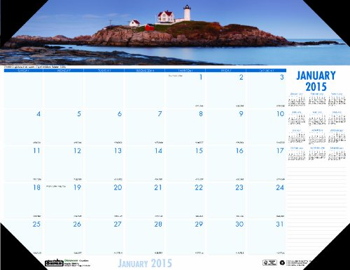 House Of Doolittle Earthscapes Coastlines Compact Desk Pad Calendar 12 Months January 2015 To December 2015, 18.5 X 13 Inch, Recycled (Hod1786) front-78565