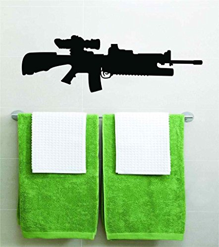 Sniper Rifle Machine Gun Military War Assault Vinyl Wall Decal Peel & Stick Graphic Sticker Picture Art Home Bedroom Decoration Kids Boy Girl Teen Dorm Room Children - 22 Colors Available 40x15