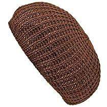 Luxury Divas Brown Warm Thin Slouchy Knit Tami Beret Cap Hat