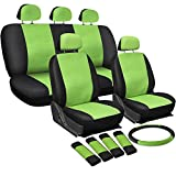 OxGord 17pc Set PU Leather / Green & Black Auto Seat Covers Set - Airbag Compatible - Front Low Back Buckets - 50/50 or 60/40 Rear Split Bench - 5 Head Rests - Universal Fit for Car, Truck, Suv, or Van - FREE Steering Wheel Cover