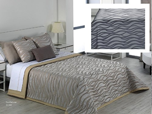 Textilhome - Colcha Bouti Jacquard KUNA 105 cm. Color Acero